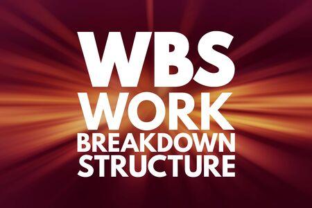 Foto de WBS - Work Breakdown Structure acronym, business concept background - Imagen libre de derechos