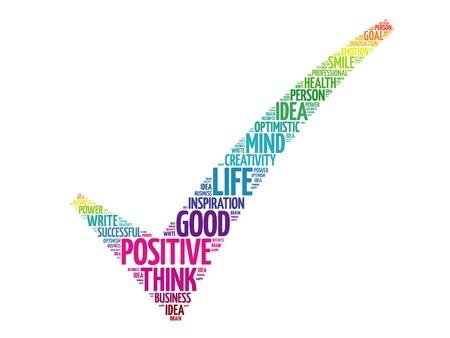 Illustrazione per Colorful Positive thinking check mark, vector business concept words cloud - Immagini Royalty Free