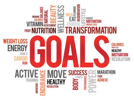 Illustration pour GOALS word cloud, fitness, sport, health concept - image libre de droit