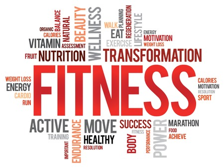 Photo for FITNESS word cloud, sport, health concept - Royalty Free Image