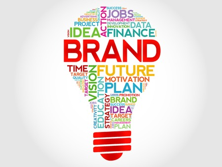 Illustration pour BRAND bulb word cloud, business concept - image libre de droit