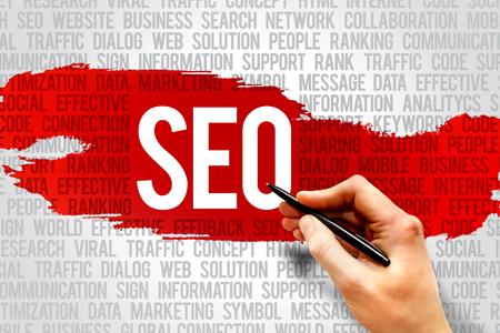 Foto de Seo, search engine optimazion word cloud, business concept - Imagen libre de derechos