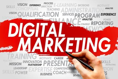 Photo pour Digital Marketing word cloud, business concept - image libre de droit