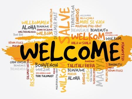 Illustration pour Welcome in different languages word cloud, business concept - image libre de droit