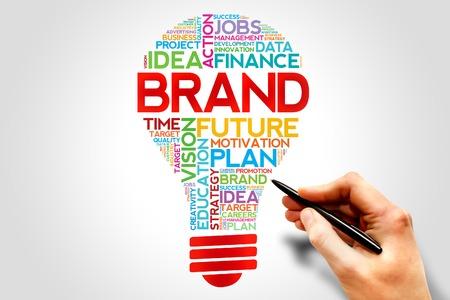 Photo pour BRAND bulb word cloud, business concept - image libre de droit