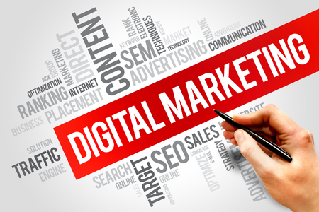Foto de Digital Marketing word cloud, business concept - Imagen libre de derechos
