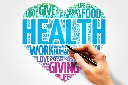 Photo pour Health word cloud, heart concept - image libre de droit