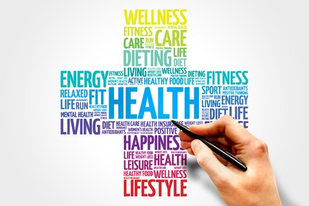 Foto de Health word cloud, health cross concept - Imagen libre de derechos