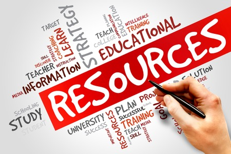 Foto de RESOURCES word cloud, education concept - Imagen libre de derechos