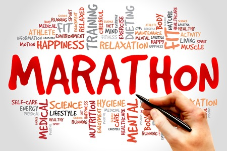 Photo pour MARATHON word cloud, fitness, sport, health concept - image libre de droit
