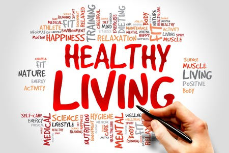 Photo pour Healthy Living word cloud, health concept - image libre de droit