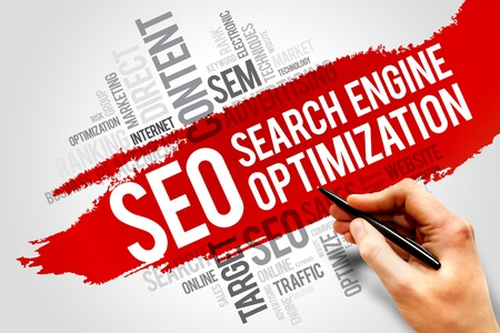 Photo for SEO (search engine optimization) word cloud business concept - Royalty Free Image