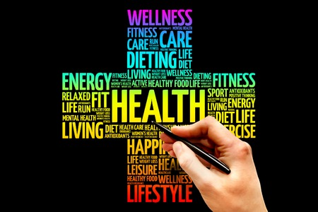 Photo for Health word cloud, health cross concept - Royalty Free Image
