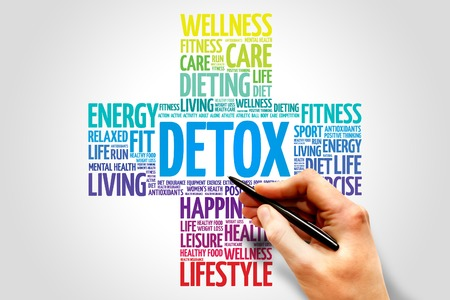 Photo for DETOX word cloud, health cross concept - Royalty Free Image