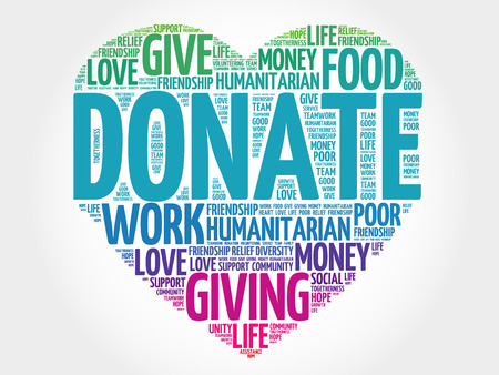 Illustration for Donate word cloud, heart concept - Royalty Free Image