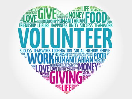 Illustration pour Volunteer word cloud, heart concept - image libre de droit