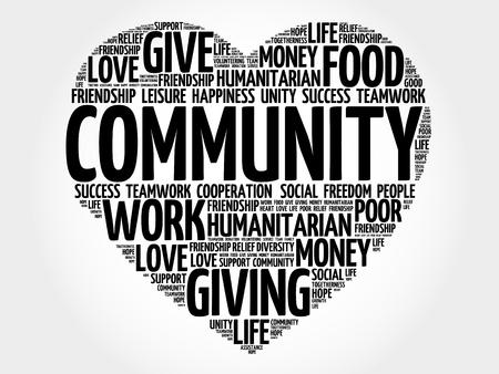 Ilustración de Community word cloud, heart concept - Imagen libre de derechos