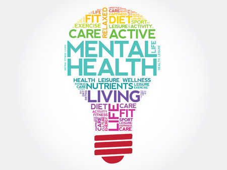 Photo for Mental health bulb word cloud, health concept - Royalty Free Image