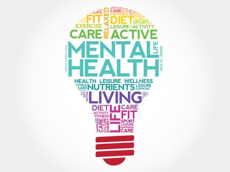 Ilustración de Mental health bulb word cloud, health concept - Imagen libre de derechos
