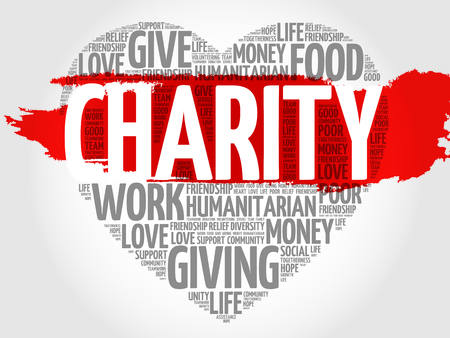 Illustration for Charity word cloud heart concept - Royalty Free Image
