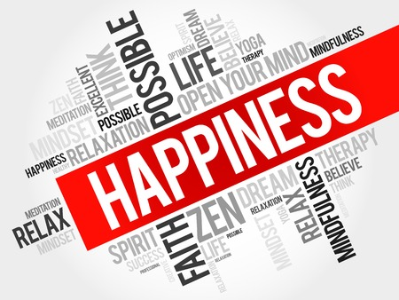Illustration pour Happiness word cloud concept - image libre de droit