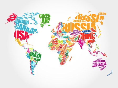 Illustration pour World Map in Typography word cloud concept, names of countries - image libre de droit