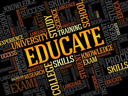 Ilustración de EDUCATE. Word education collage - Imagen libre de derechos
