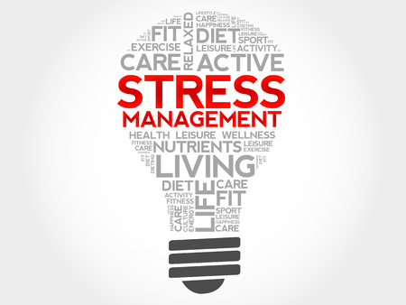 Illustrazione per Stress Management bulb word cloud, health concept - Immagini Royalty Free