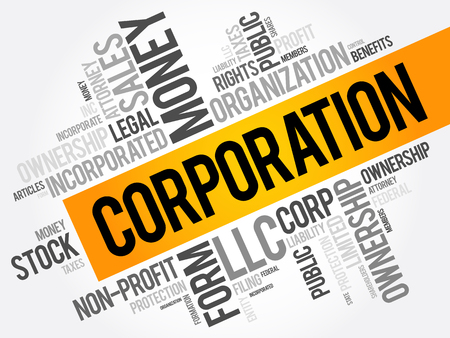 Illustration for Corporation word cloud collage, business concept background - Royalty Free Image