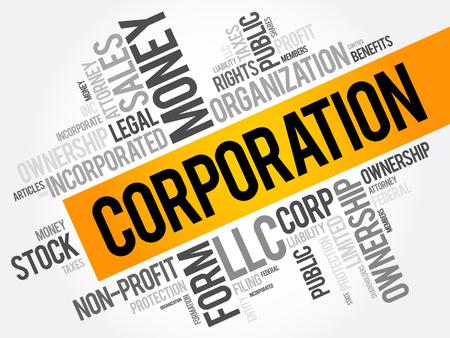 Illustration pour Corporation word cloud collage, business concept background - image libre de droit