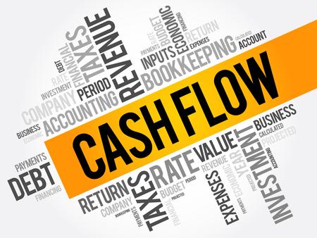 Ilustración de Cash Flow word cloud collage, business concept background - Imagen libre de derechos