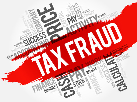 Illustration for Tax fraud word cloud collage, business concept background - Royalty Free Image