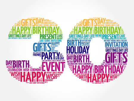 Illustration for Happy 30th birthday word cloud collage concept - Royalty Free Image