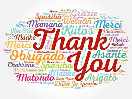 Ilustración de Thank You Word Cloud concept background in many languages - Imagen libre de derechos