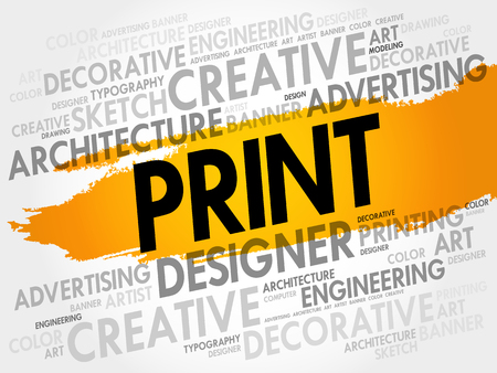 Illustration for PRINT word cloud, creative business concept background - Royalty Free Image