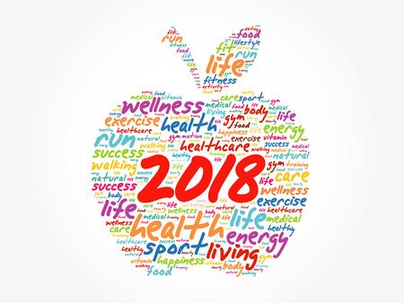 Ilustración de 2018 apple word cloud collage, health concept background - Imagen libre de derechos