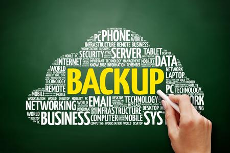 Foto de BACKUP word cloud collage, technology concept on blackboard - Imagen libre de derechos