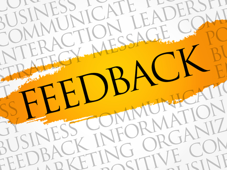 Illustration for Feedback word cloud collage, business concept background - Royalty Free Image