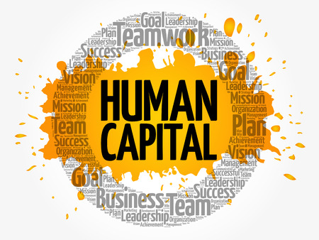 Illustrazione per Human capital word cloud collage, business concept background - Immagini Royalty Free
