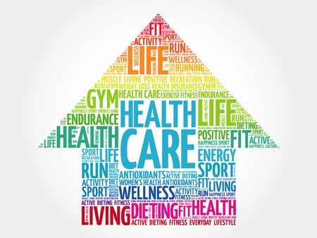 Ilustración de Health care arrrow word cloud, health concept - Imagen libre de derechos