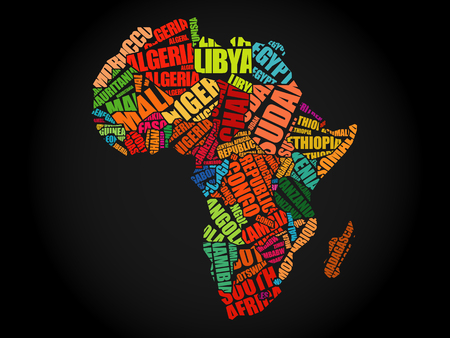 Illustration pour African countries Map in Typography word cloud concept, names of countries - image libre de droit