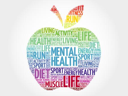 Photo pour Mental health apple word cloud, health concept - image libre de droit