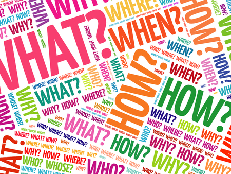 Illustration for Questions whose answers are considered basic in information gathering or problem solving, word cloud background - Royalty Free Image