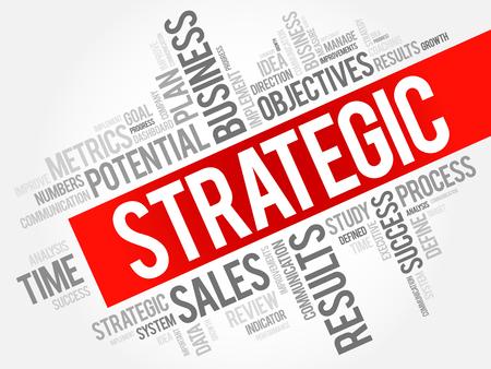 Ilustración de Strategic word cloud, business concept - Imagen libre de derechos