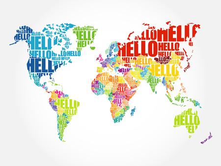 Illustration pour HELLO Word Cloud World Map in Typography, background concept - image libre de droit