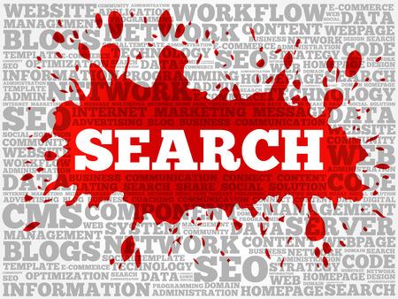 Ilustración de SEARCH word cloud collage, technology business concept background - Imagen libre de derechos