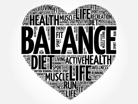 Illustration pour BALANCE heart word cloud, fitness, sport, health concept - image libre de droit