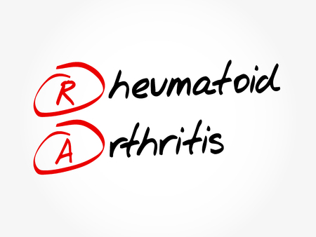 Illustration pour RA - Rheumatoid Arthritis acronym, concept background - image libre de droit