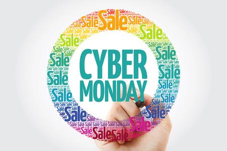 Foto de Cyber Monday words cloud with marker, business concept background - Imagen libre de derechos
