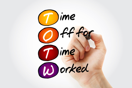 Photo for TOTW - Time Off for Time Worked acronym with marker, business concept background - Royalty Free Image